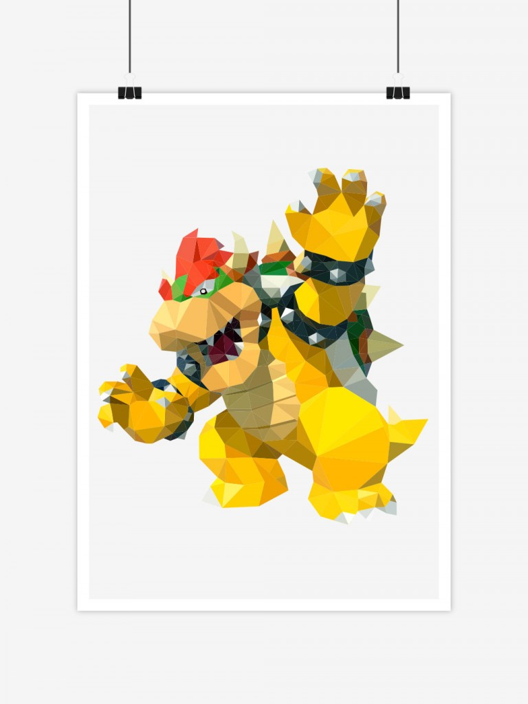 poster low poly polygon bowser