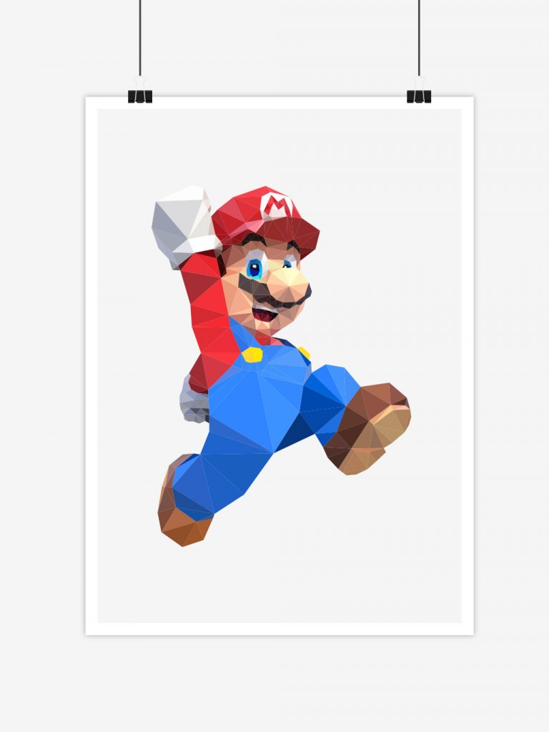 poster low poly polygon mario