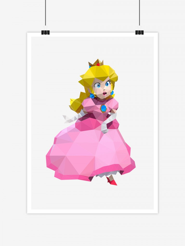 poster low poly polygone princesse peach